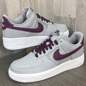Nike By You ID Air Force 1 grey/burgundy/white